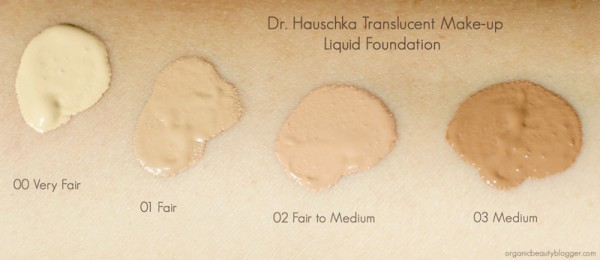 Dr Hauschka Translucent Make Up liquid foundation swatches 00-03
