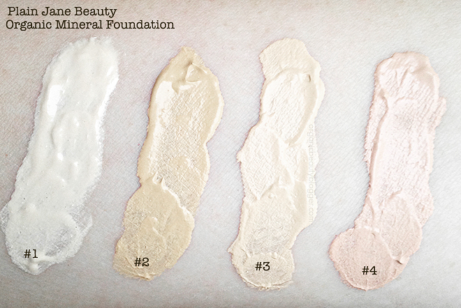 Plain Jane Beauty Organic Cream Mineral Foundation Swatches