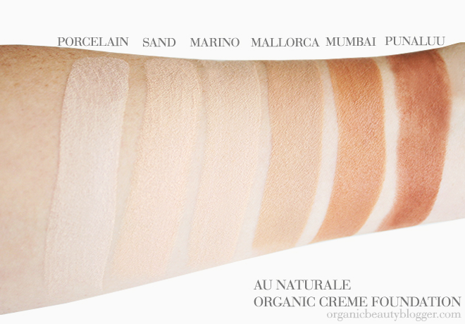 Au Naturale Organic Vegan Creme Foundation Swatches