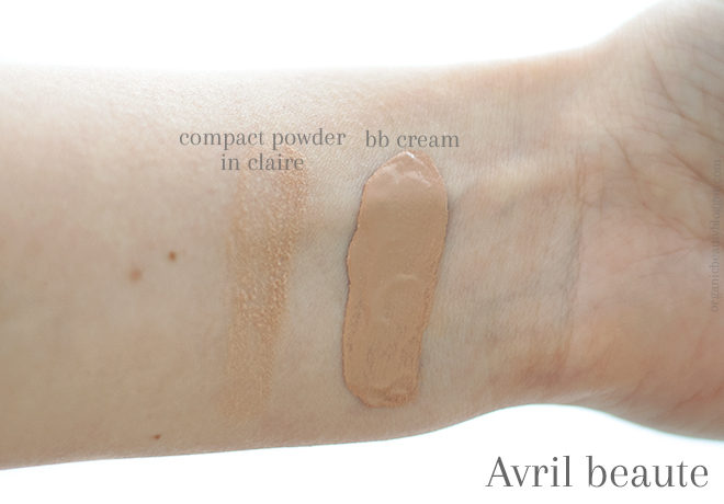 Avril beaute bb cream and compact powder swatches
